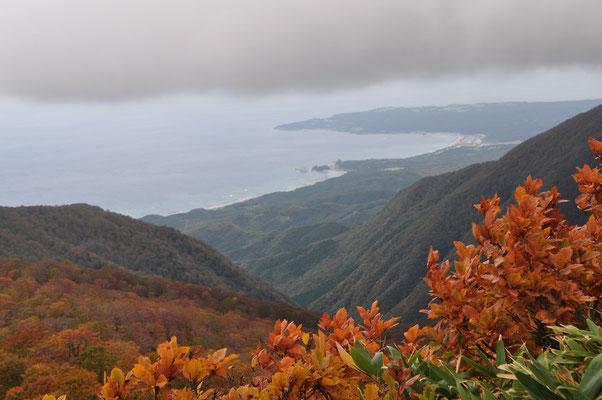 日本海に突き出た岬は有名な不老ふ死温泉がある艫作(へなし)崎