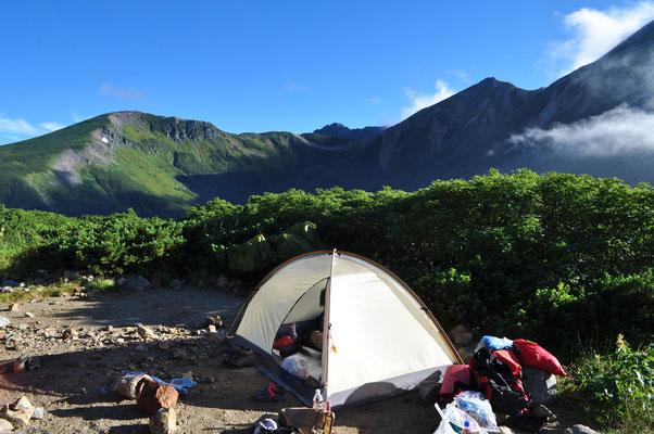 テントの片付け開始