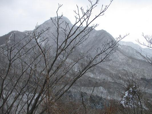 スルス峠手前から見る枝越しの相馬山