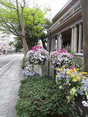 山手234番館の花 しばらく閉館となっているが、花はきれいに飾られている