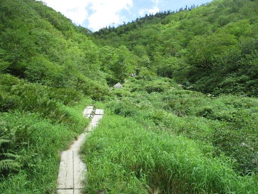 こんな所がクマさんの踊り場・・・ここから500m先が鏡平 おまちかねの休憩所