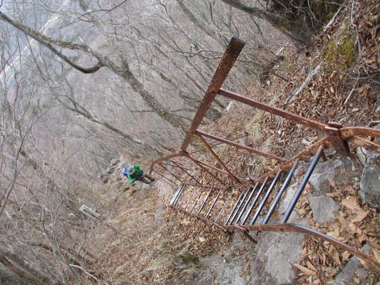 手すり付きの鉄梯子 不安定な感じ・・・