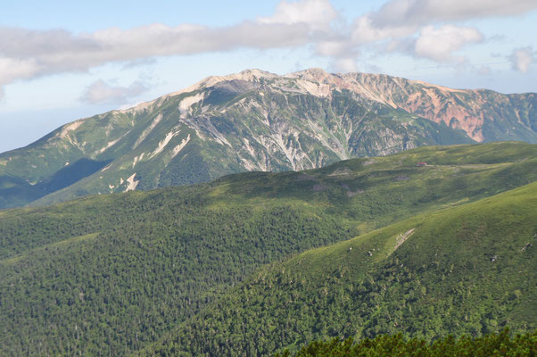 ドーンと存在感のある薬師岳 地質は6000万年前に噴出した濃飛流紋岩 山頂部一帯の岩石は最近の研究で「薬師岳流紋岩類」 (『日本の山ができるまで』小泉武栄著より)