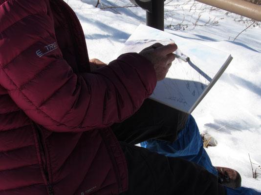 白い南アルプスを描いたあとは、やはり雪頭ヶ岳