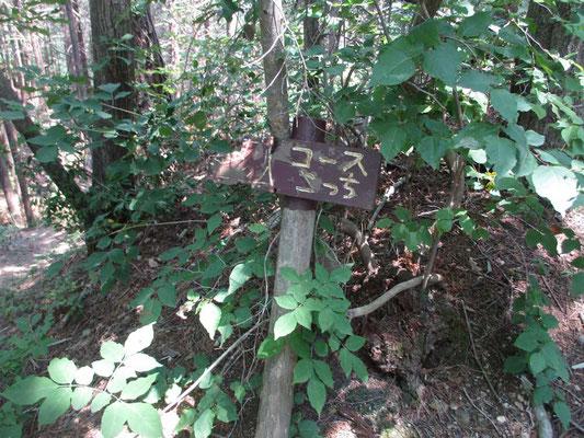 「コースこっち」の標識が指す方向も登山靴で示されています
