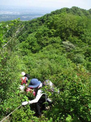仏果山からの急降下「金冷し」です ロープを使って下っています