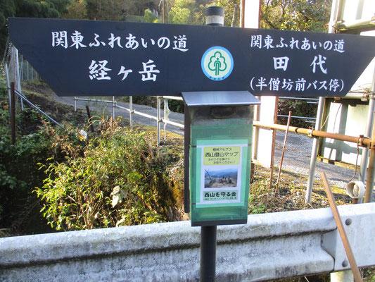 登山口の標識 こうしたポイント地点には西山のポストが設置されていて「西山登山マップ」が入っている