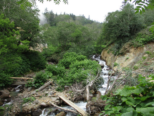 地図に「ヤンベ温泉」と記載があった箇所 「施設なし」とありましたが、昔はあったのでしょうか そこからモウモウと蒸気?噴気が昇っています