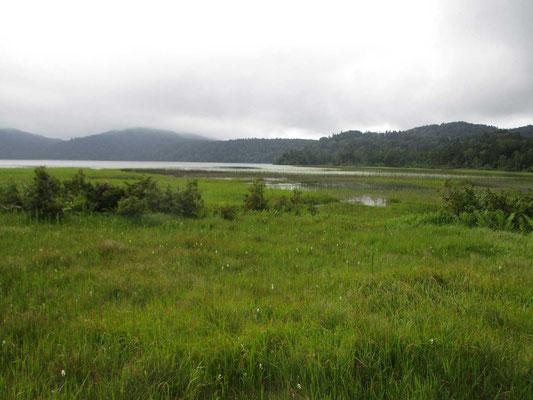 尾瀬沼の沼尻に到着、ここには休憩舎がありましたが、昨年消失してしまいました