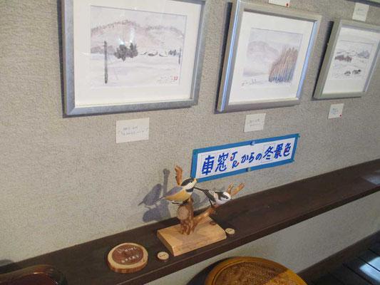 バードカービングの作品もお借りして飾りました これはヤマガラとエナガです