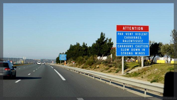 Hinweis auf starke Winde in Südfrankreich!