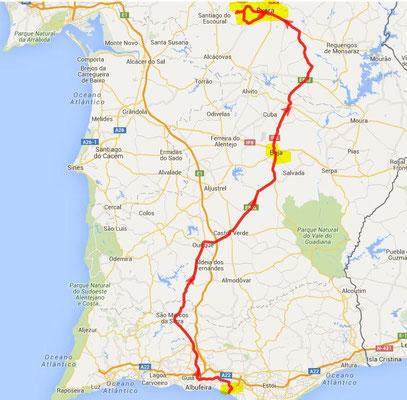 Hinfahrt über Beja - 270 km