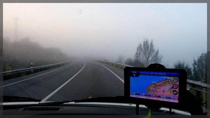 ...auf der Fahrt durch Frankreich: Nebel