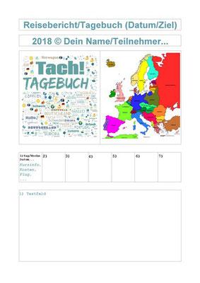 Reisebericht /Tagebuch - Vorlage im  PDF-Format