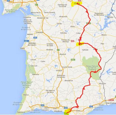 Rückfahrt über Serpa - 290 km