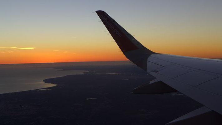 Abendstimmung im Flugzeug