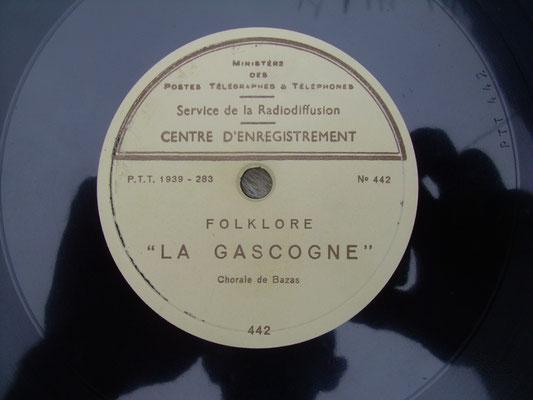 Disque cire LP 78 tours enregistrement J. Benquet 1939