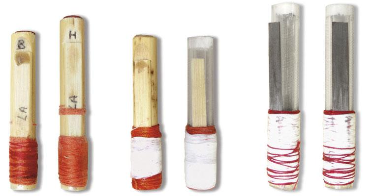 Diverses anches du COMDT, monobloc et corps plexi lamelle roseau et couple d'anches de Robert Matta plexi/fibre de carbone