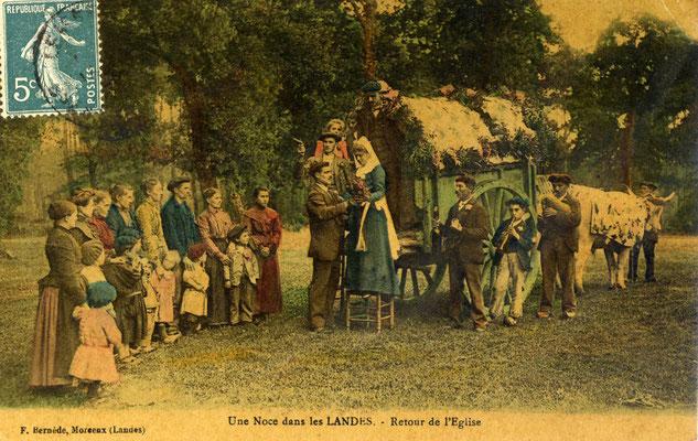 """BOHA! 21 (BdG) : Carte Postale colorisée 1905 """"Noce dans les Landes"""""""