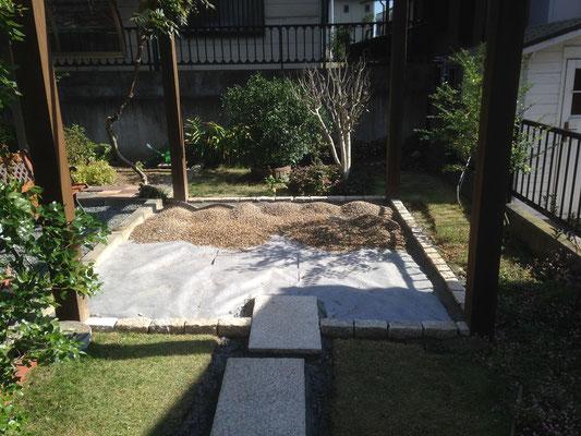 砂利を敷く前に防草シートを敷いて草が生えるのを防ぐ