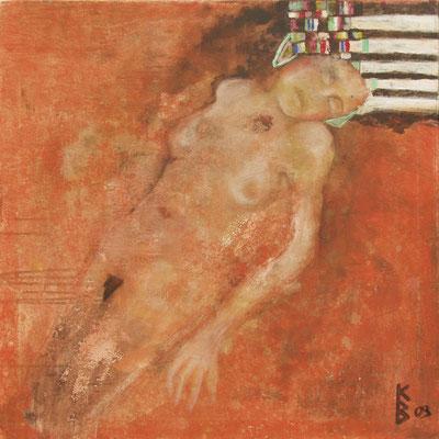 Zyklus Lebenslinien Orange K, 2003, Acryl auf Leinwand, 80 x 80 cm