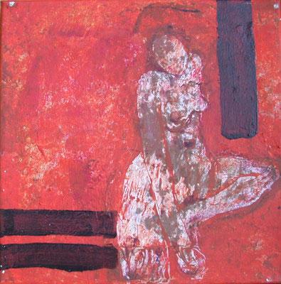 Zyklus Lebenslinien Orange II, 2003, Acryl auf Leinwand, 20 x 20 cm