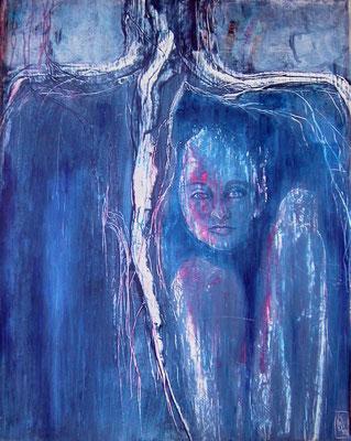 Nornen I, 1999, Acryl auf Holz, 60 x 70 cm