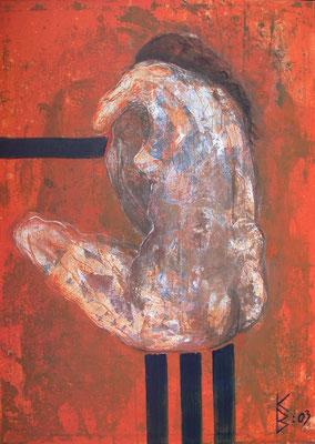 Zyklus Lebenslinien Orange, 2003, Acryl auf Leinwand, 100 x 140 cm