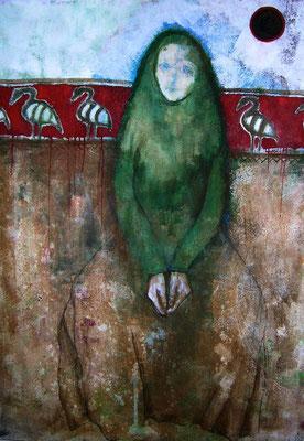 Die Mondfrau oder Vogelmord, 2007, Acryl auf Leinwand, 100 x 160 cm
