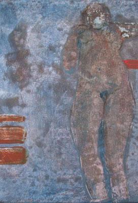 Zyklus Lebenslinien Blau, 2003, Acryl auf Leinwand, 20 x 20 cm