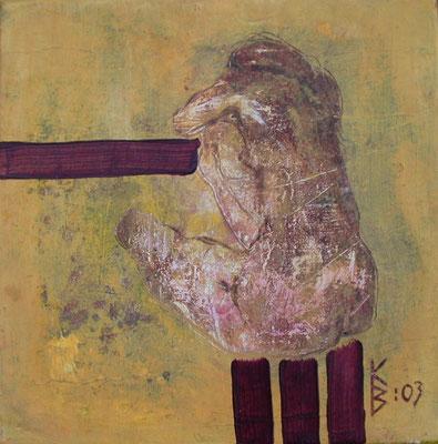 Zyklus Lebenslinien Gelb II, 2003, Acryl auf Leinwand, 20 x 20 cm