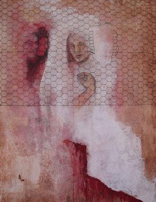 Die Braut oder das Patriarchat, 2001, Acryl auf Holz, 80 x 100 cm