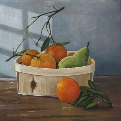 """""""Orangen und eine Birne"""" Acryl auf Leinwand (Keilrahmen) 40x40 cm"""