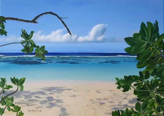 """""""Strand von Seychellen"""" Acryl auf Leinwand (Keilrahmen) 50x70 cm. Verschenkt."""