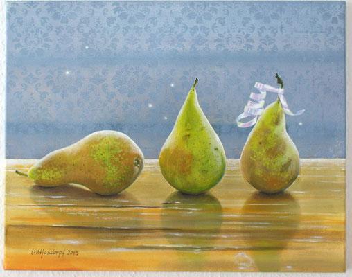 """Drei Birnen"" Acryl auf Leinwand (Keilrahmen) 40x50 cm"