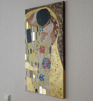 """""""Der Kuss"""" nach Gustav Klimt. Acryl auf Leinwand 40x60 cm. Ein Geschenk für meinen Bruder."""
