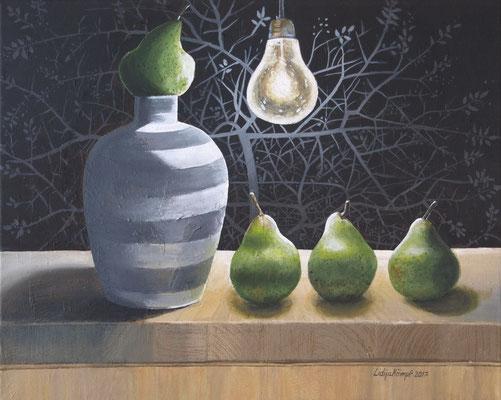 """""""Vier kleine Birnen"""" Acryl auf Leinwand 40x50 cm."""