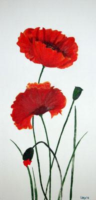 """""""Mohnblumen"""" Acryl auf Leinwand (Keilrahmen) 30x60 cm"""