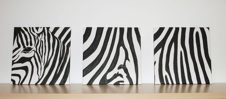 """""""Zebra Trio"""" Acryl auf Leinwand (Keilrahmen) je 35x35 cm"""