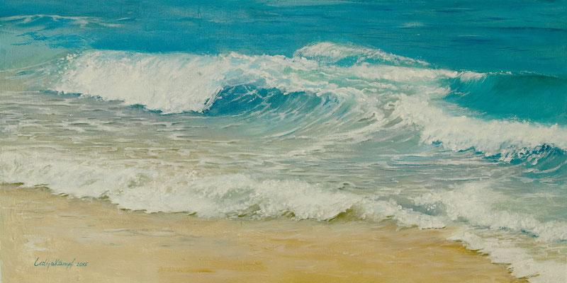 """Meeresbrise"" Acrylfarbe. Leinwand auf 4mm Holzplatte, 35x70 cm"