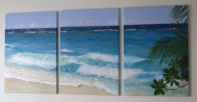 """Paradies"" Acryl auf Leinwand (Keilrahmen) 150x70 cm (3 Teile à 50x70 cm)"