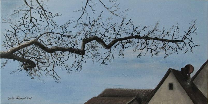 """""""Eiche über den Dächern"""" Acryl auf Leinwand (Keilrahmen) 30x60 cm"""