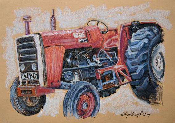 """""""Traktor Ferguson"""" Pastell auf Tonzeichenpapier 24x34 cm"""