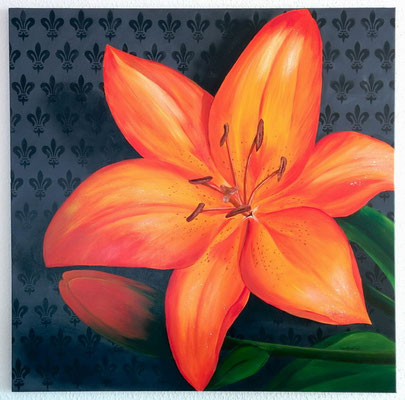 """Feuerlilie"" Acryl auf Leinwand (Keilrahmen) 100x100 cm"