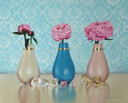 """""""Drei Vasen"""" Acryl auf Leinwand (Keilrahmen) 40x50 cm"""