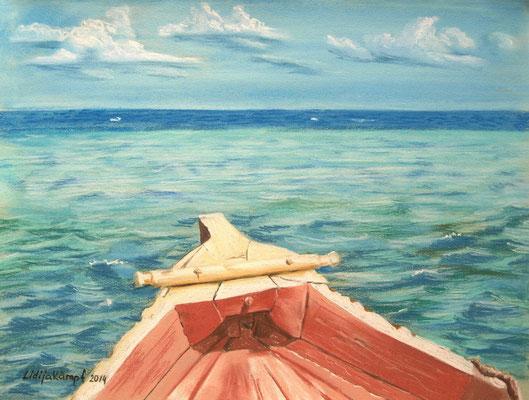"""""""Ich und der Ozean"""" Pastellkreide auf Ingres-Papier 31x41 cm"""