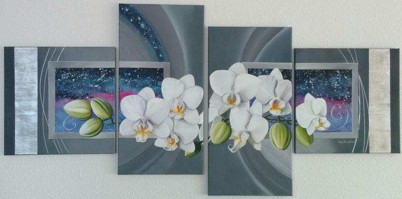 """Orchideen"" Acryl auf Leinwand (Keilrahmen) 4-teilig 180x90 cm (je 50x50,40x80, 40x80, 50x50 cm)"