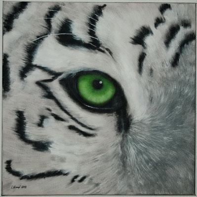 """Tigerauge"" Acryl auf Leinwand (Keilrahmen) 50x50 cm. Verkauft."