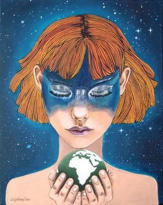 """Grüner Planet"" Acryl auf Leinwand 40x50 cm."