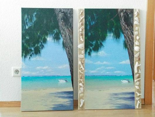 """""""Lagune auf Mauritius mit Rand aus Muscheln"""" Acry auf Leinwand (Keilrahmen) 50x80 cm"""